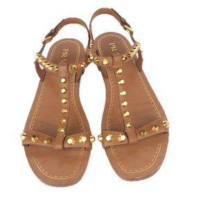 Prada Gold Studded Thong T-Strap Sandals